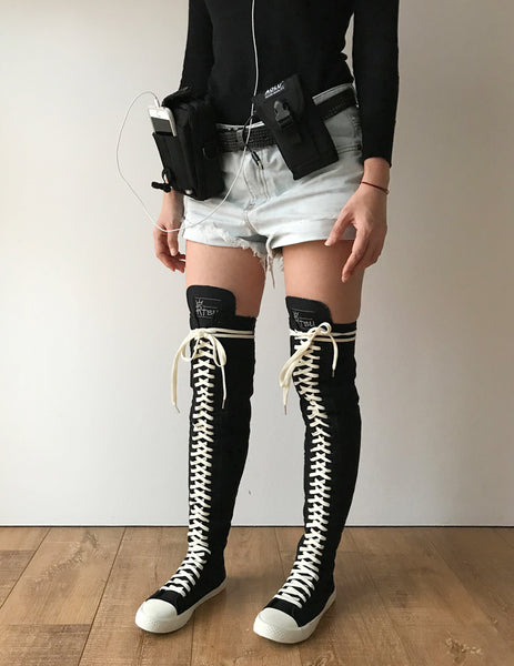 RTBU Ivory Frosting 35 Hole Punk Thigh Hi Black Canvas Lace Up Sneaker Boot