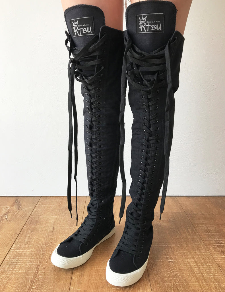 b03a3411b97e RTBU OREO 35 Hole Punk Goth Thigh Hi Canvas Laceup Zip Sneaker Boots B –  Refuse to be Usual
