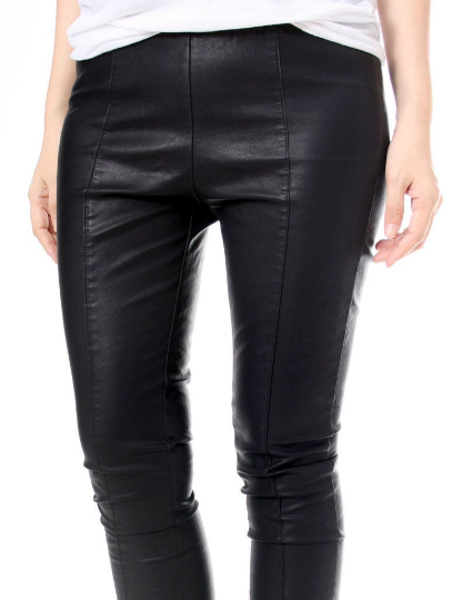 RTBU Warm Winter Storm Windproof Punk Rock Stretch Vegan Faux Leather Like CenterLine Seam Cigarette Pants