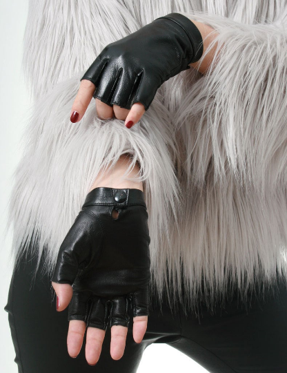 Genuine Leather Lambskin Sheepskin Punk Rocker Biker Dancer Half Fingers Wrist Snap Button Glove