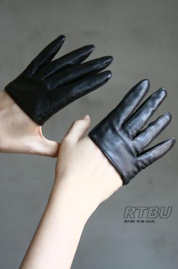 Genuine Leather Fashion Runway Party Club Four 4 Finger Glove Half Lambskin Punk