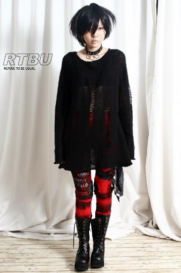 Punk Rock Ripped Broken Ladder Hole Acrylic Mohair Like Sweater Knit Pullover Unisex Oversized Jumper Black One Piece Dress