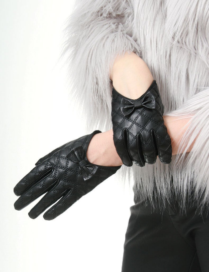 Genuine Lamb Quilted Leather Formal Bow Tie Knot Party Lady Glove (Scoop or Full Wrist)