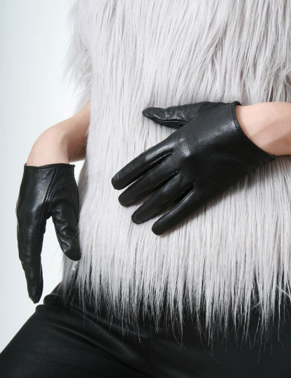 Genuine Sheepskin Leather Fashion Runway Celebrity Model Scoop Wrist Gloves