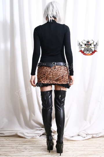 Punk Rock Leopard Mini Hipster Skirt w/ Suspender Garter Belt Bloomer Undershorts