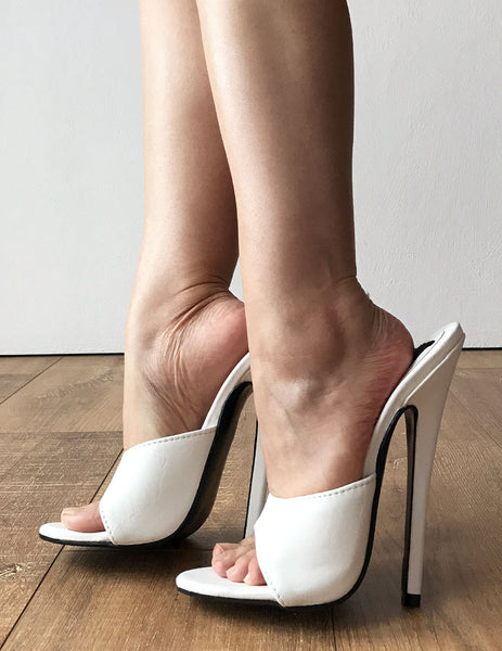 18MULE Sexy Mistress Hi Heel Stiletto Fetish Slipper Slides Mule White