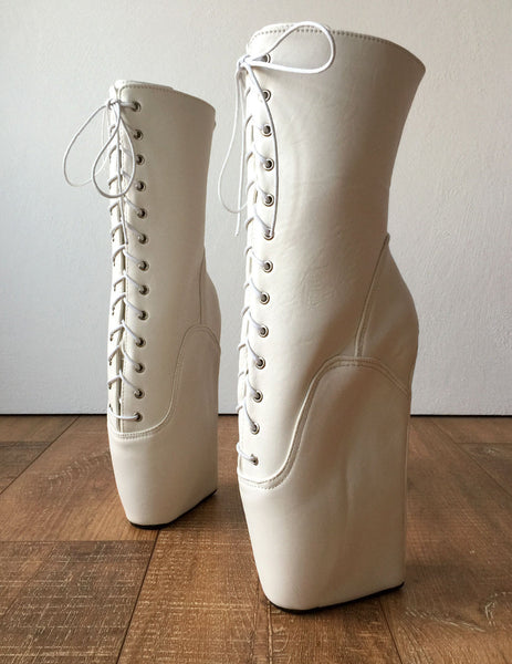 BEGIN III (No Zip) Ballet Wedge Hoof Heelless Fetish Pointe Training Matte White