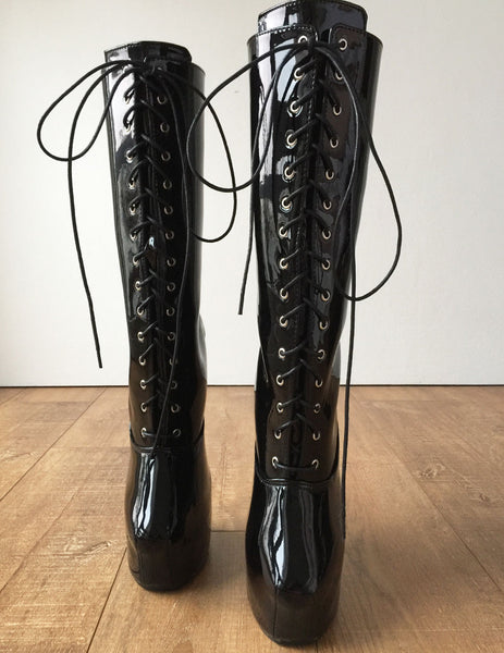 MYLI II (More Eyelets) Heavy Hoof Sole Heelless Mid-Calf Boots Black Patent