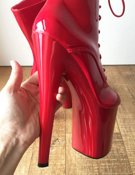 RTBU DENZEL 20cm Platform Calf Lace Up Show Boot Extreme Fetish BDSM Red Patent