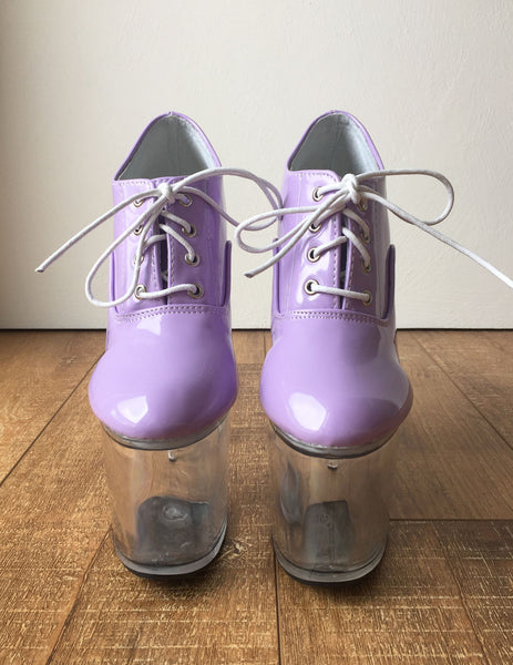 RTBU ICE 20cm Clear See Through Platform Oxford Bootie Pastel Purple Patent