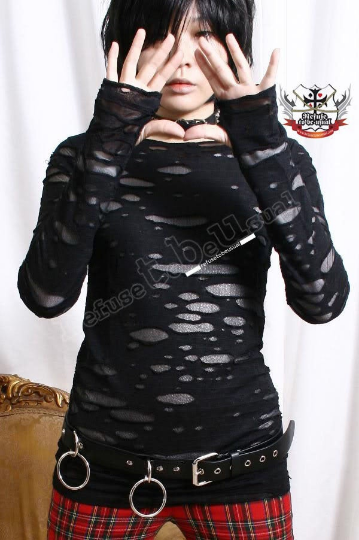 RTBU Gothic Punk Rocker Distressed Broken Mummy Corroded Raggedy Sheer Thumb Hole Mitten Shirt Top Unisex