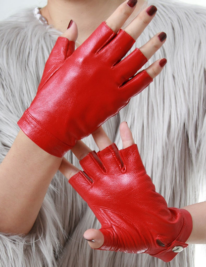 Genuine Leather Lambskin Sheepskin Punk Rocker Biker Dancer Half Finger Snap Button Red