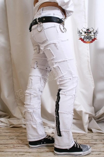 PUNK EMO Distressed Buckle Stretch Cigarette JEAN White