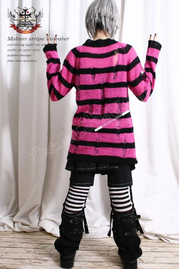 Punk Ladder Sweater Acrylic Mohair Knit Pullover HOT PINK NEON Stripe 6 Stripes