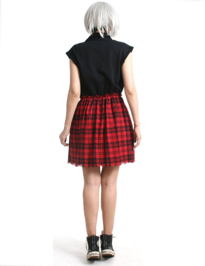 RTBU Cutie Punk Sweatshirt Red Tartan Flannel Button Sleeveless One Piece Dress