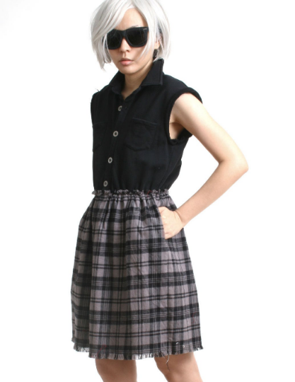 RTBU Cutie Punk Sweatshirt Gray Tartan Flannel Button Sleeveless One Piece Dress