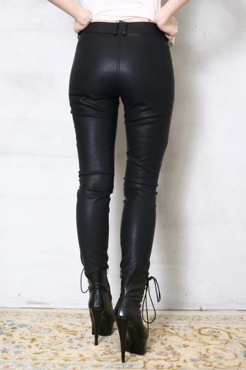 Chic Rock Runway Armor Corset Laceup Vegan Faux Leather Pleather Pants Men Women