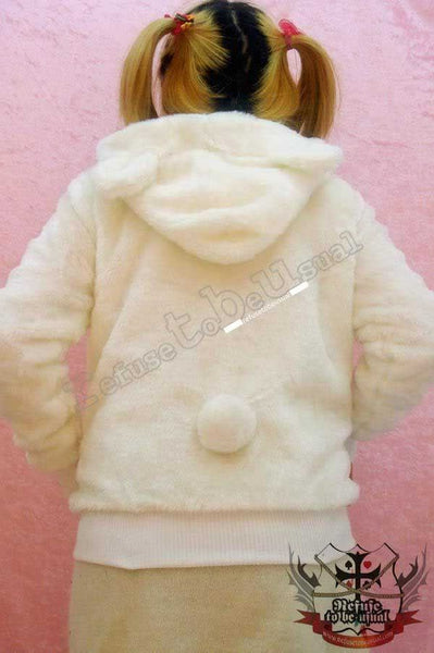 White Q BEAR 1/3 Mask Teddy Ear Hoody Punk Plush Faux Fur Parka Jacket Lined