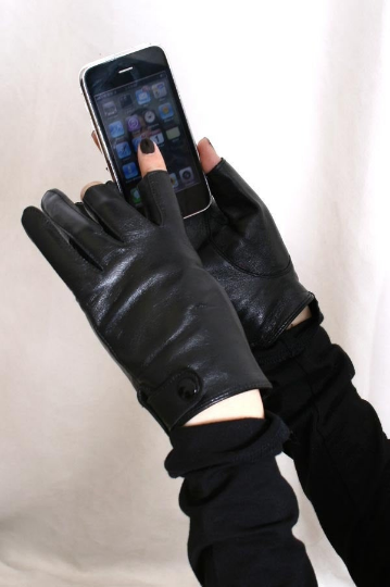 Genuine Sheepskin Leather Punk Rock 3 Fingerless Glove for iphone Touch Screen (for 17 to 18cm palm)
