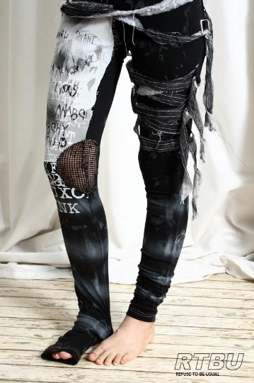 Unisex Ultra Long Zombie Gauze Punk Gothic Punk Distressed Tie Dye Legging/Pants Mesh Patch