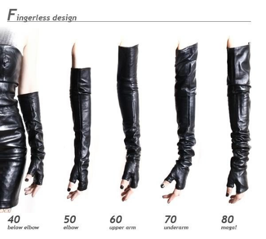 "60cm (23.75"") Fingerless Genuine Leather Gothic Underarm Show Girl Party Glove Runway Accessory"