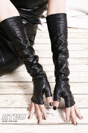 "40cm (15.75"") Fingerless Genuine Leather Gothic emo Punk Elbow Arm Warmer Gloves Runway Accessory"
