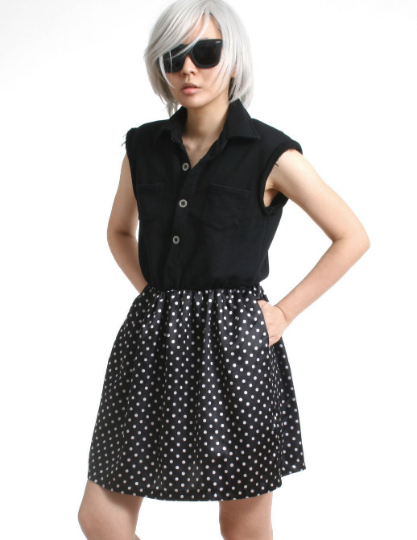 RTBU Cutie Punk Sweat Shirt Polka Dot Satin Button Sleeveless One Piece Dress