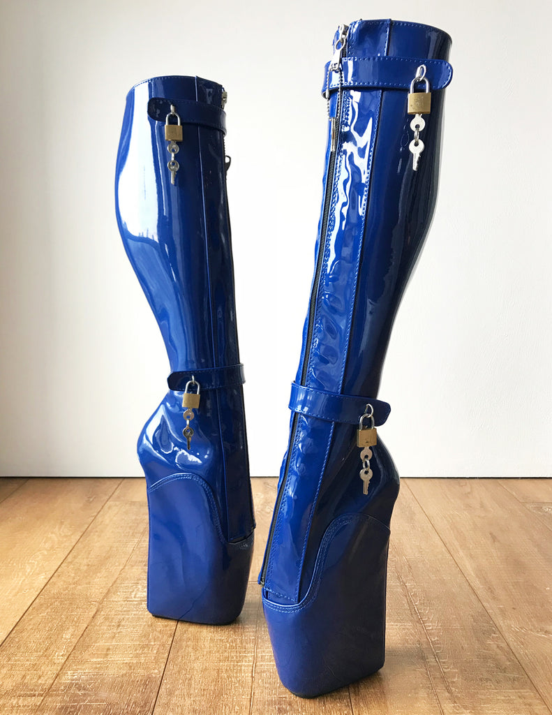 RTBU 6 KEYS Locking Zip Beginner Ballet Wedge Boots Fetish Dominatrix Blue Patent