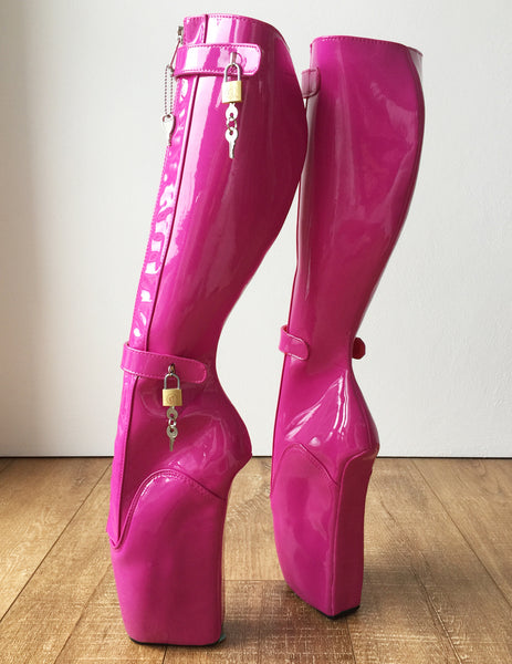 RTBU 6 KEYS Locking Zip Beginner Ballet Wedge Boots Fetish Dominatrix Hot Pink Patent