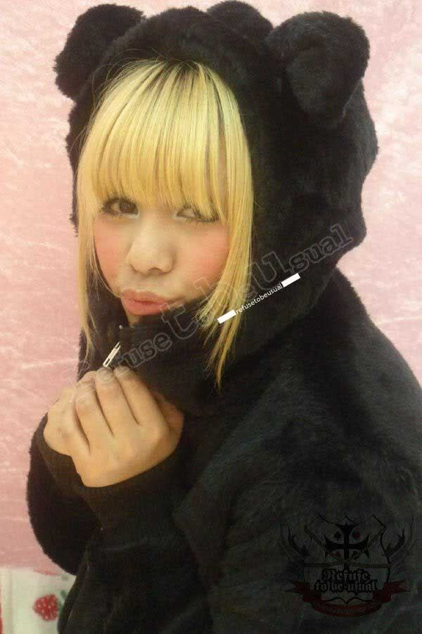 Black Q BEAR 1/3 Mask Teddy Ear Hoody Punk Plush Faux Fur Parka Jacket Lined