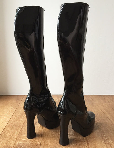 RTBU ADNAN Secret Locking Zip 12cm Spool Hidden Shoe Lace Knee Boots BDSM Fetish