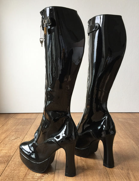 RTBU ADNAN II Secret Locking Zip Padlock Strap Knee 12cm Spool Boot Fetish BDSM