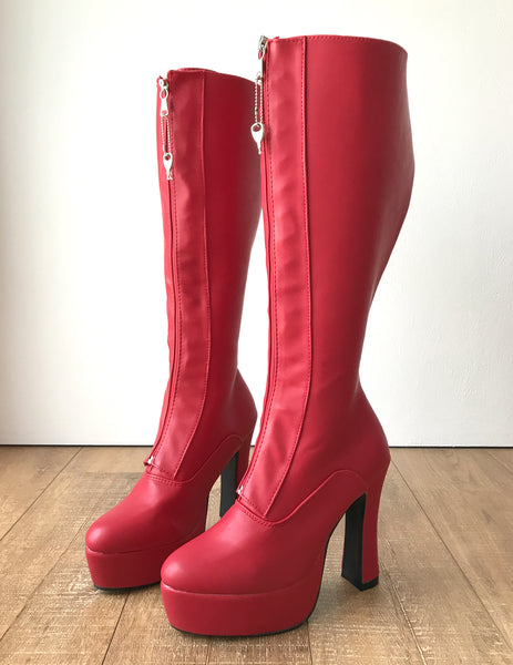 RTBU ADNAN Secret Locking Zip 12cm Spool Hidden Lace Knee Hi Fetish Boots Red Matte