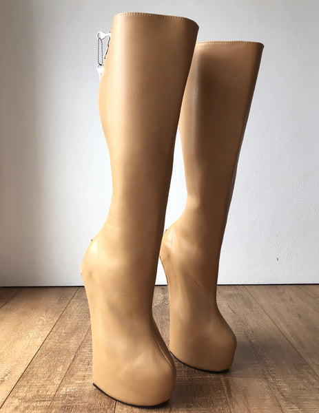 RTBU ALPHA Heavy Hoof Sole Heelless Lockable/Locking Knee Hi Camel Matte Open Zip