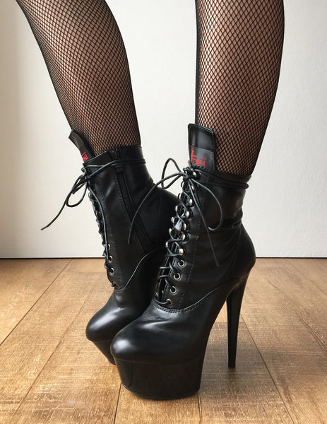 RTBU BABE 15cm Platform Ankle Lace Up Zip Bootie Kawaii Punk Black Matte