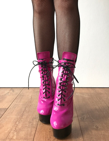 BABE 15cm Platform Ankle Lace up Zip Bootie Kawaii Punk Patent Hot Pink
