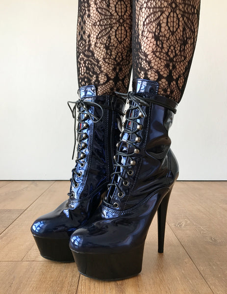 RTBU BABE 15cm Platform Ankle Lace up Zip Bootie Kawaii Punk Metallic Blue