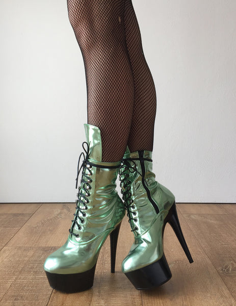 RTBU BABE 15cm Platform Ankle Lace up Zip Bootie Kawaii Punk Metallic Mint