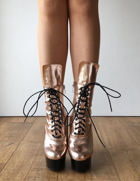 RTBU BABE 15cm Platform Ankle Lace up Zip Bootie Kawaii Punk Metallic Rose Gold