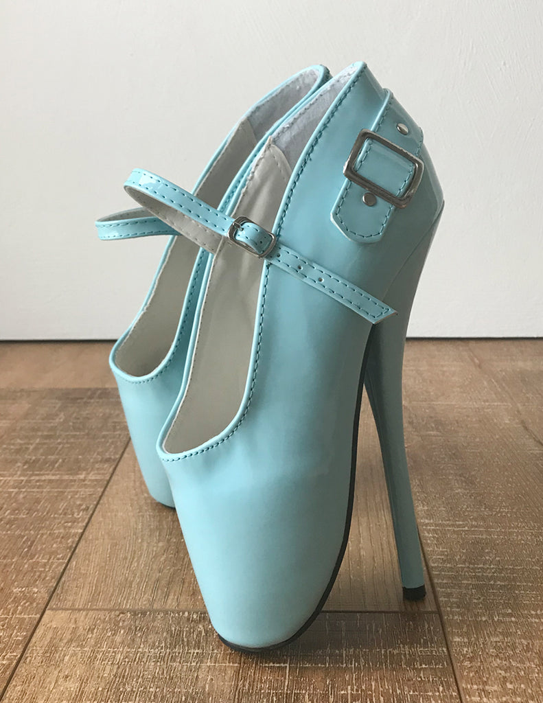 RTBU BALLET I Strap Buckle Burlesque Mary Janes Fetish Pump Sky Blue Patent
