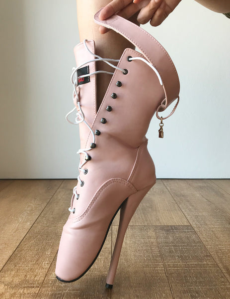 RTBU BALLET Calf Hi Fetish Boot Burlesque Dominatrix Piggy Pink Matte