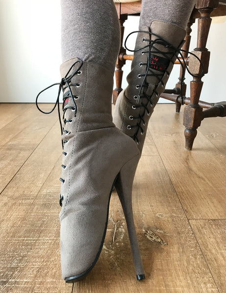 RTBU Ballet Stiletto Hi Heel Pointe Lace up Burlesque Taupe Suede