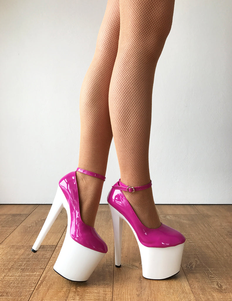BEBE 20cm Platform Heel Fetish two tone Oxford Ankle Bootie Pink White Patent