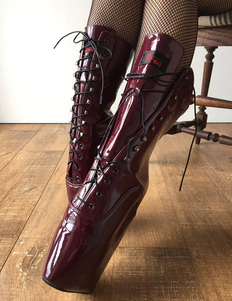 BEGINNER Ballet Wedge Hoof Sole Heelless Fetish Pointe Training Newbies Burgundy