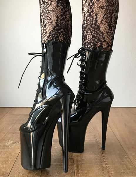 RTBU BITE 20cm Platform Calf Lace Up Zip Runway Show Boot Fetish Black Patent