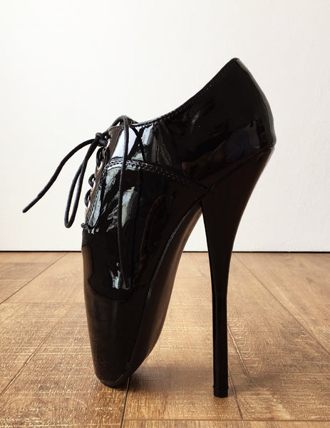 CHAPLIN A Ballet Stiletto Fetish BDSM Oxford Pointe Black Patent