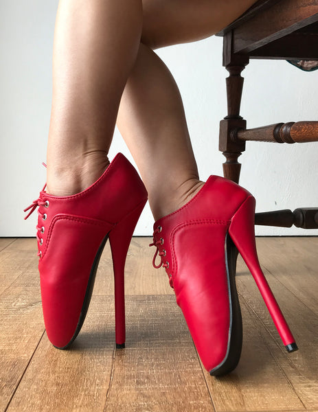 CHAPLIN Ballet Stiletto Fetish Oxford Pointe Booties Red Matte