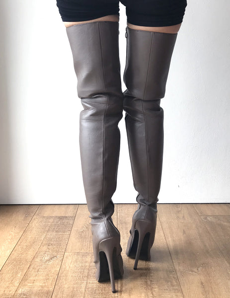 RTBU CHRIS 18cm Stiletto 65cm Hard Shaft Customized Mid-Thigh Boot Gray