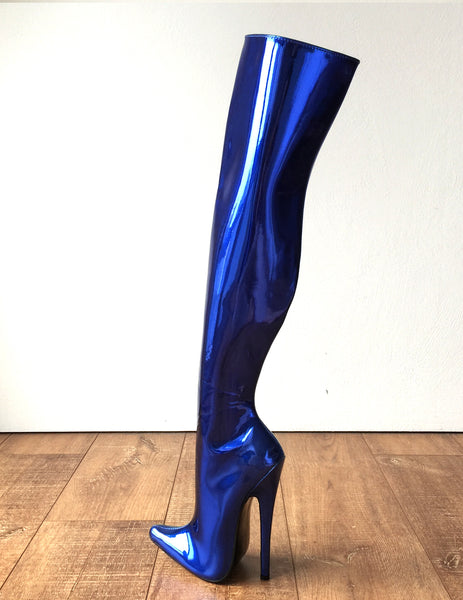 RTBU CHRIS 70cm Hard Shaft Customized Mid-Thigh 18cm Stiletto Boot Metallic Blue