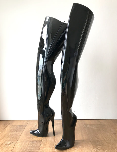 RTBU CHRIS Hard Shaft Customized Crotch Hi 18cm Stiletto Boot Black Patent